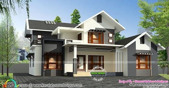 1500 sq-ft, 4 bedroom sloping roof mix modern home design by - home designers