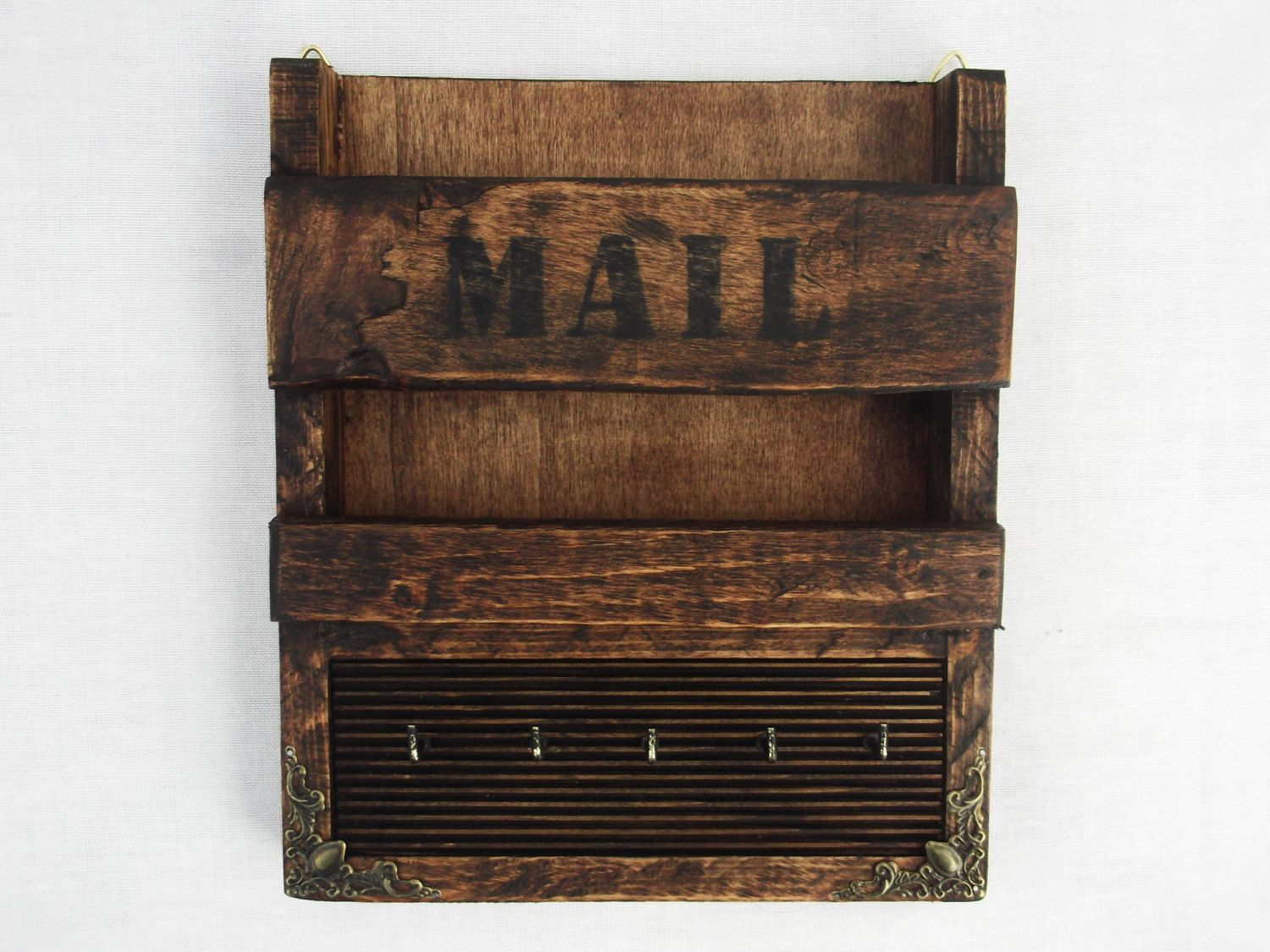 Wooden Key Holder With Shelf Rustic Wooden Wall Hanging Mail Holder And Key Rack