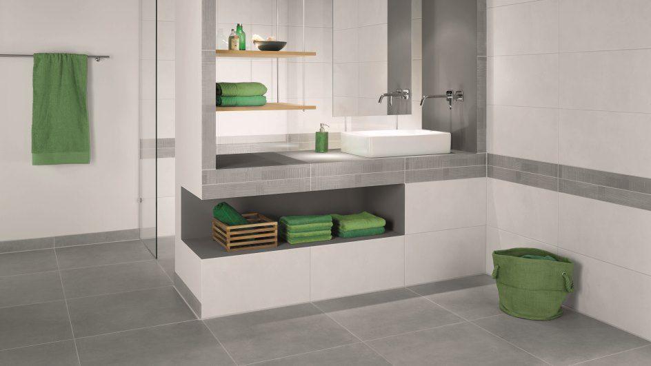 Zeitlose Fliesen im Bad in grau-weiss Bad Pinterest Bath - badezimmer in grau