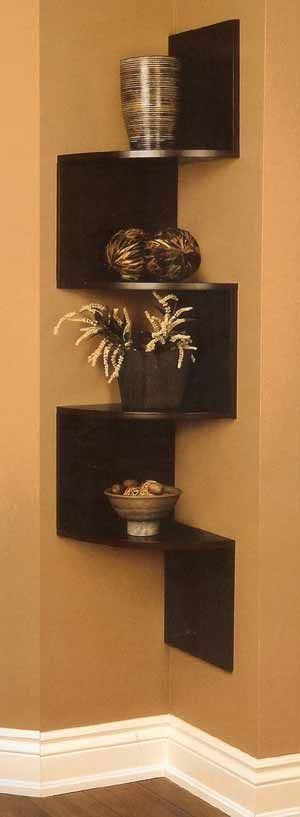 Walnut Finish Wood Wall Corner 5 Tiers Shelves Bookshelf Case by - living room corner shelf