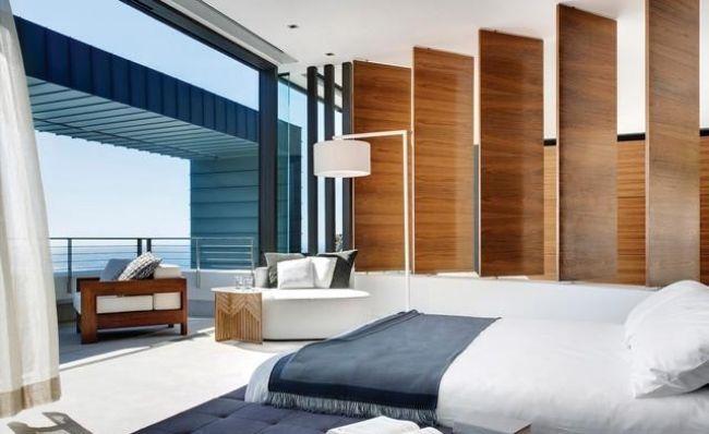 wohnideen schlafzimmer modern marine blau holz paneele - wohnideen modern