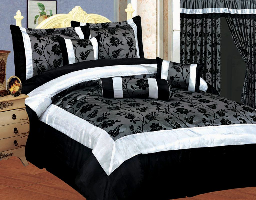 Black White And Grey Duvet Covers New Bedding Black White Silver Gray Satin Comforter Set