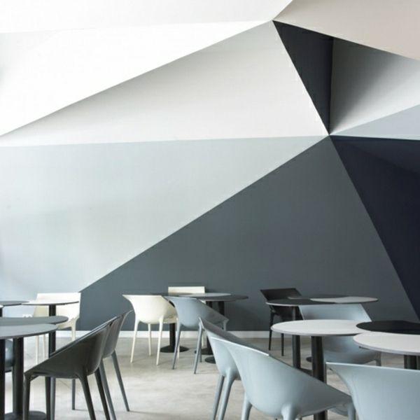 3D Wand Streichen Ideen schwarz grau weiße Farbe Ideen rund ums - wande streichen farbe