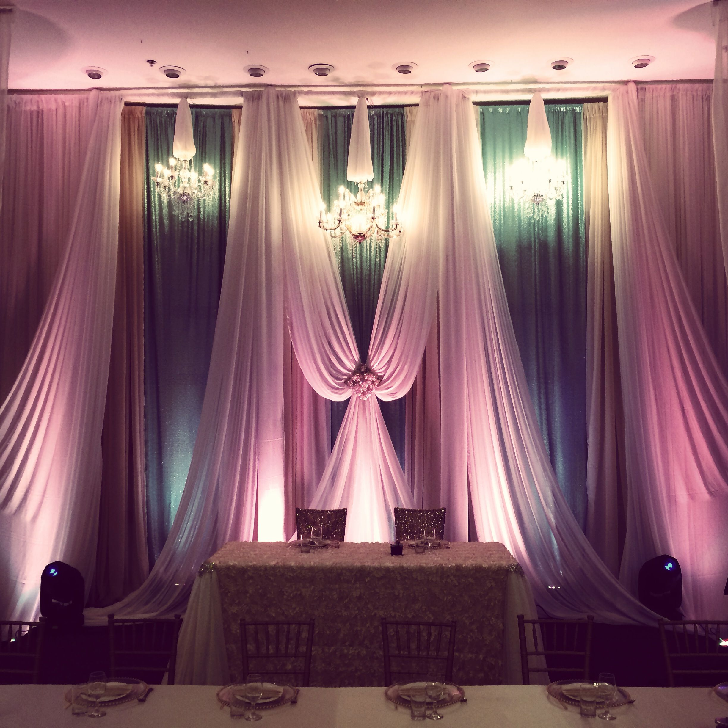 Diy Wedding Backdrop With Lights Mint And Coral Drapery At Cupertino Dynasty 1000 Fine
