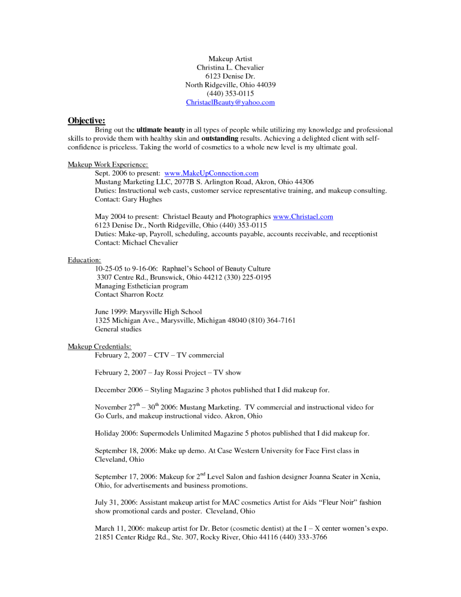resume ideas for makeup artists