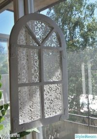 Put lace behind the glass of an old window for a cute ...