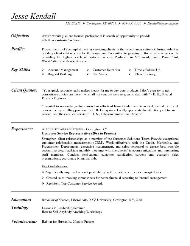 Customer Service Representative Resume Objective Examples Sample - customer service representative sample resume