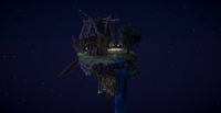 floating steampunk island house at night #minecraft ...