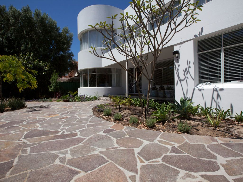 Contemporary Driveway Eco Outdoor Porphyry Crazy Paving Home Front Entrance