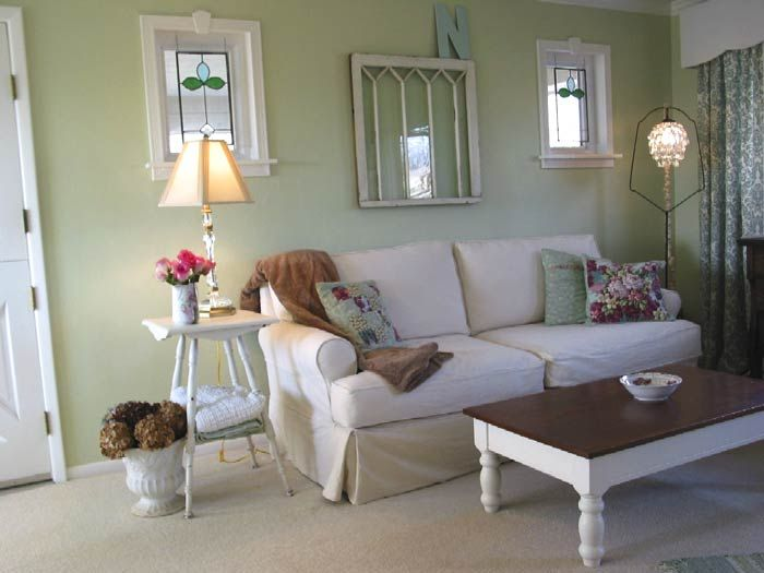 Maybe green living room? Sea drops by Glidden For the Home - green living rooms