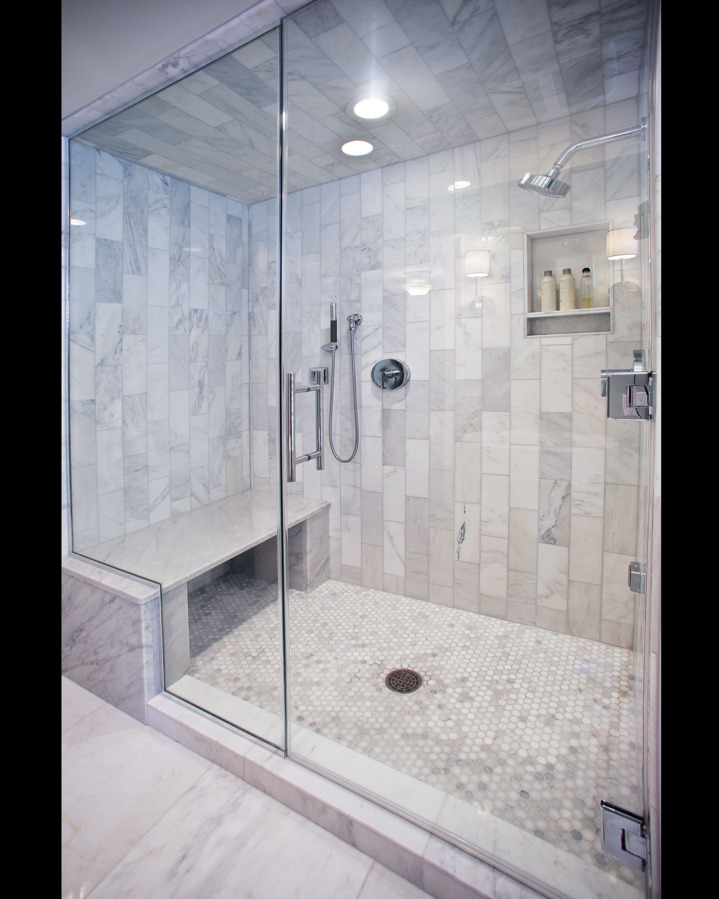 Stone Framed Bathroom Mirrors Carerra Marble Custom Steam Shower Bathroom Pinterest