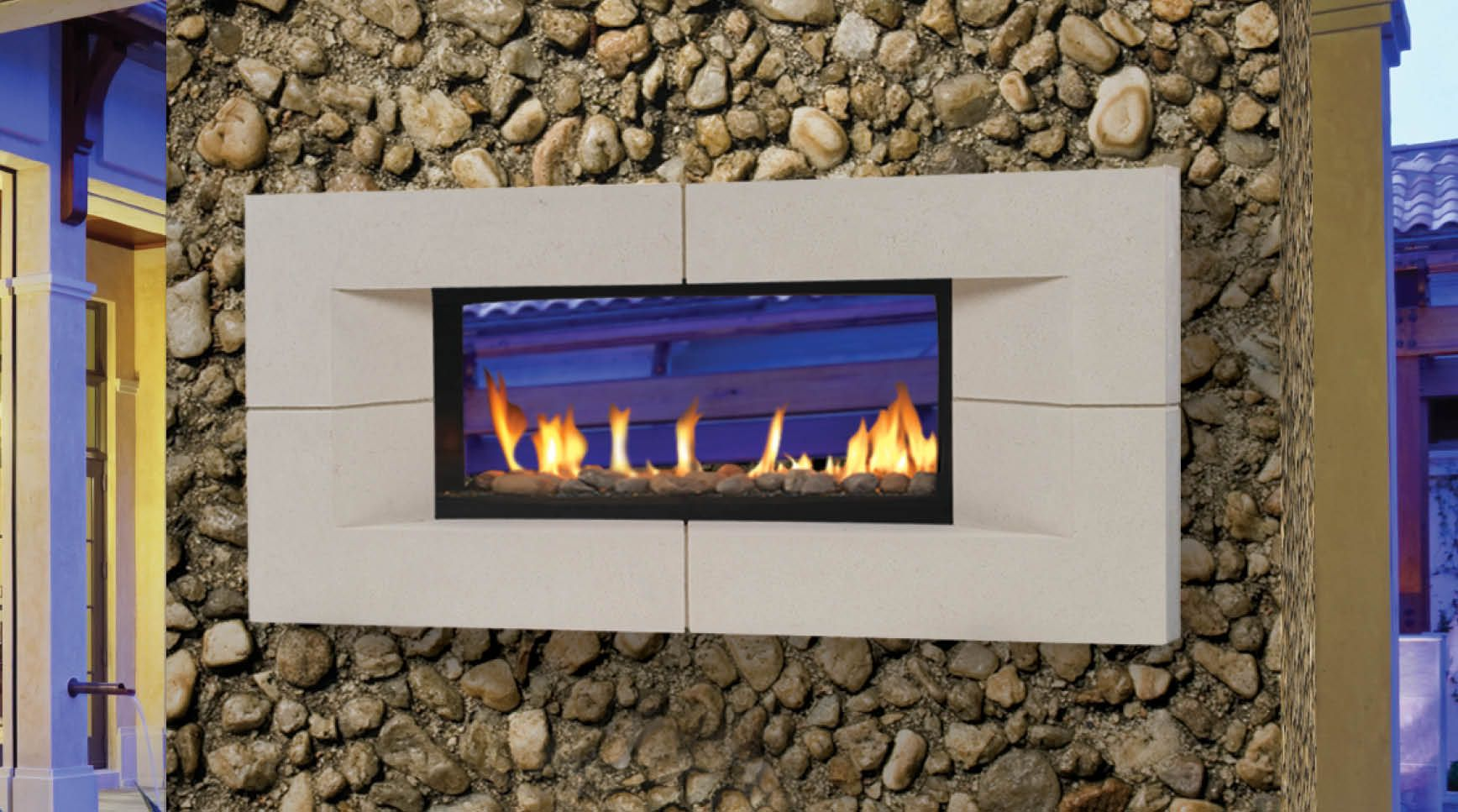Majestic Outdoor Fireplace Two Sided Indoor Outdoor Fireplace Inside In Living
