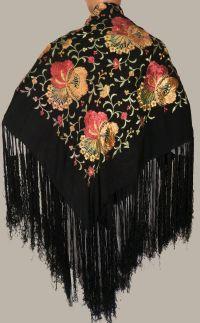 Vintage Spanish Floral Embroidered Silk Shawl | Vintage ...