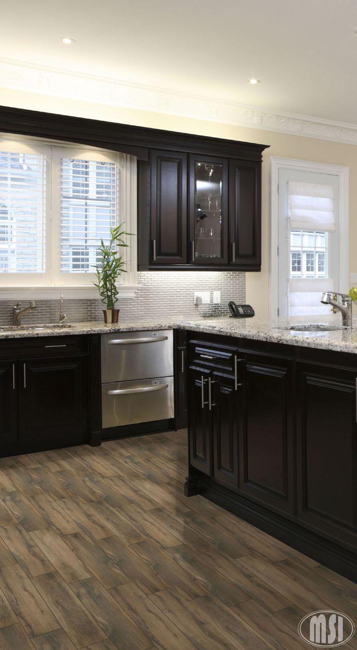 kitchen black cabinets Moon White Granite Dark Kitchen Cabinets