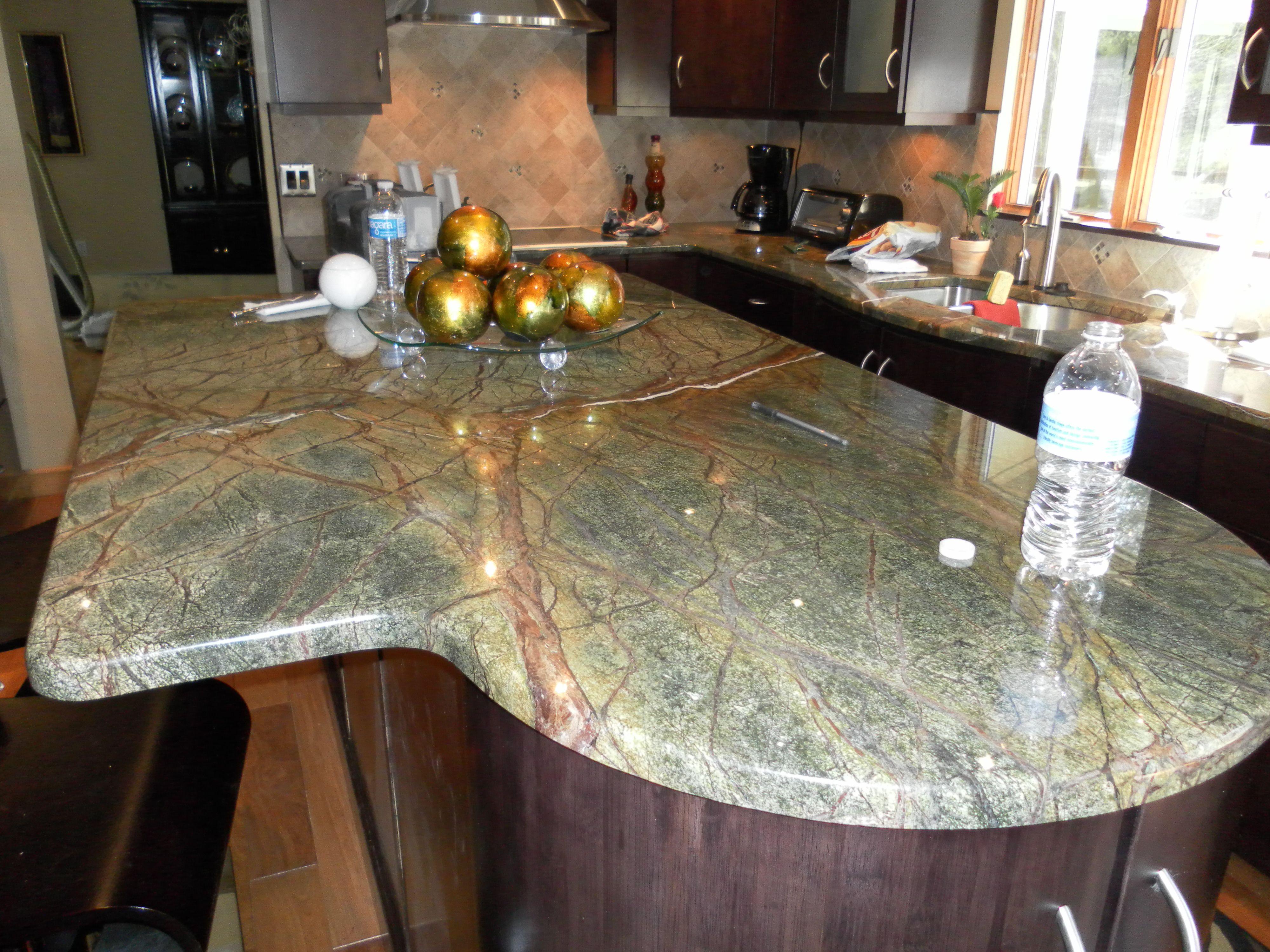 granite green kitchen countertops rainforest green granite Kitchen BarsKitchen IdeasKitchen Countertops RainforestsGranite