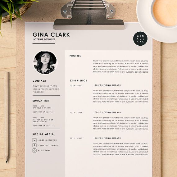 Resume Template Cover Letter Template for Word DIY by CafeResume - interior design resume templates