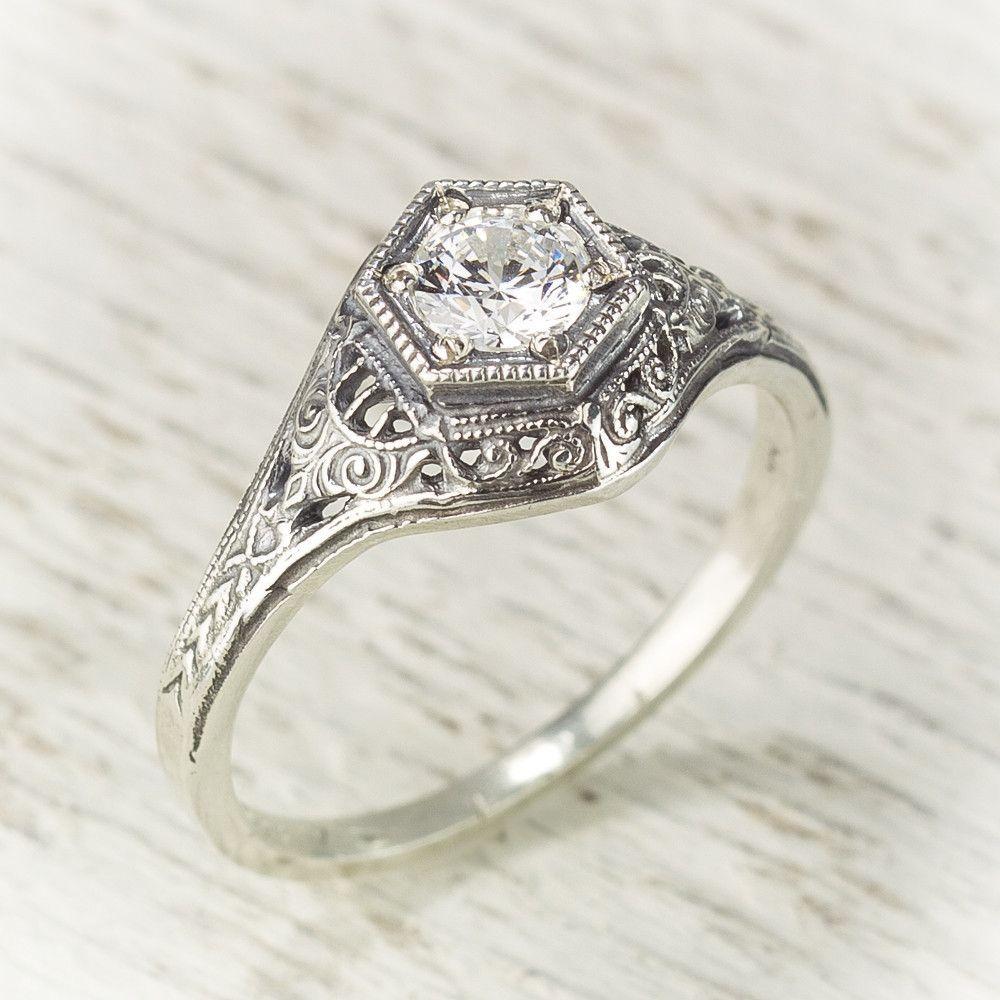 filigree wedding band Antique Filigree Engagement Ring