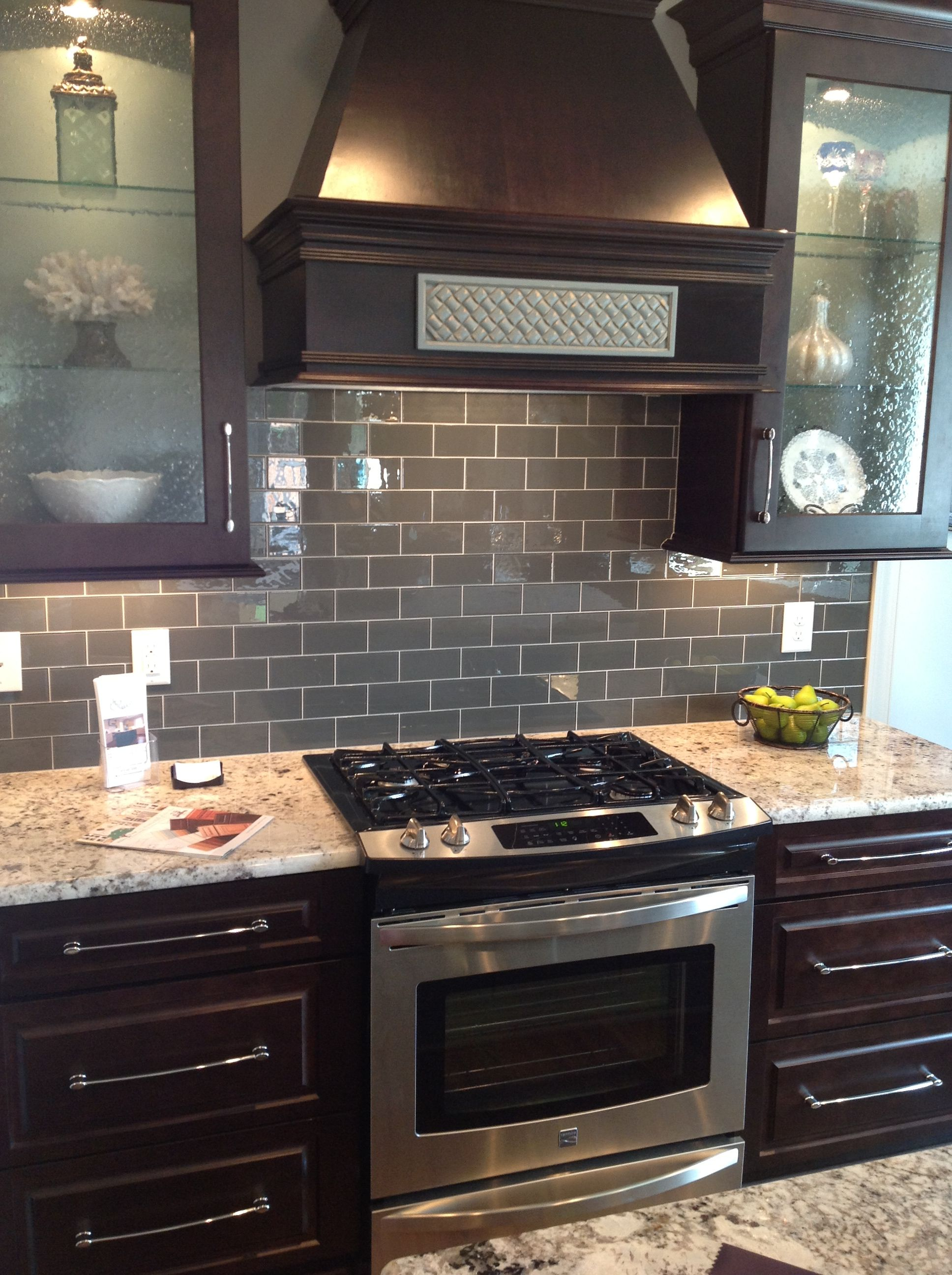 Gray Ceramic Tile Backsplash Ice Gray Glass Subway Tile Dark Brown Cabinets Subway