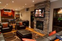 Cozy Basement Ideas | ... Basement Family Room With Brick ...