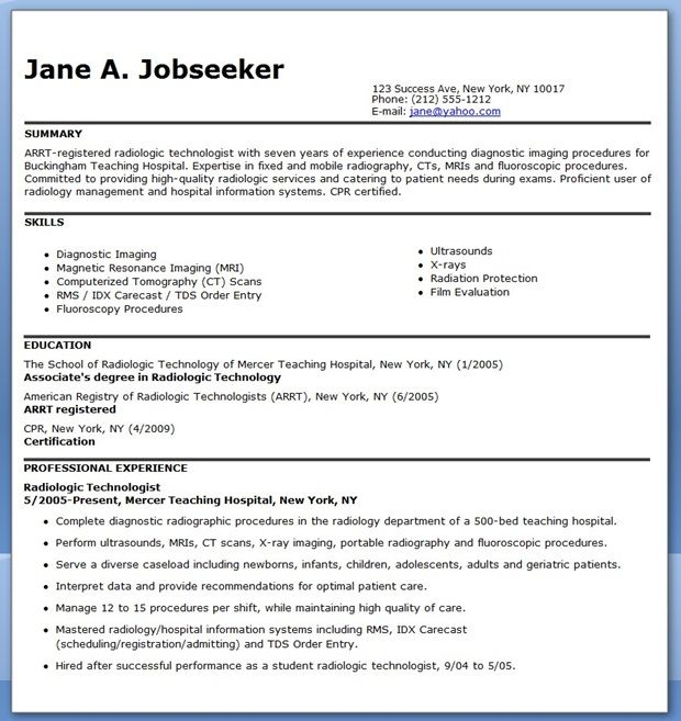 examples of radiologic technologist resume