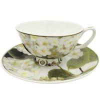 Jsaron Vintage Green Flower Tea Coffee Cup with Spoon and ...