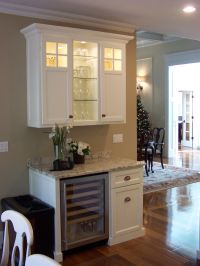 Wine serving station with built in wine fridge and upper ...