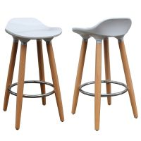 Each stool has a white, ABS plastic seat and naturally ...