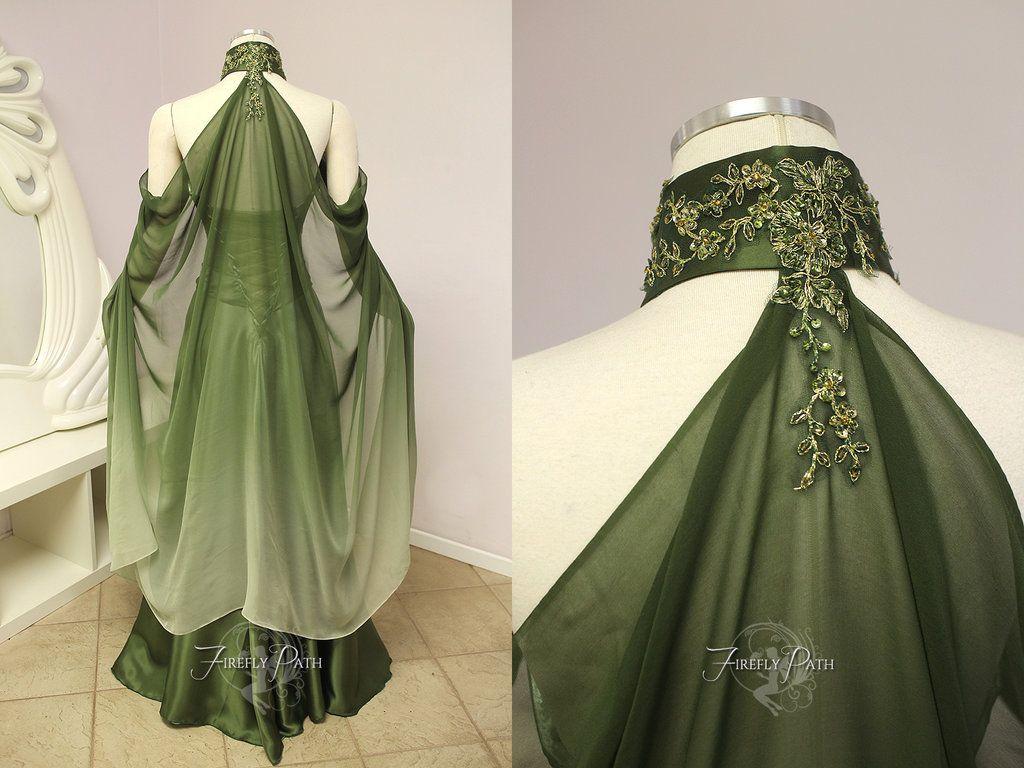 elvish wedding dress Elven Bridal Gown Back View by Lillyxandra deviantart com on DeviantArt