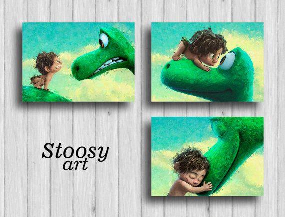 the good dinosaur print set of 3 nursery room decor disney - dinosaur bedroom ideas