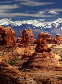 Rock Pillars & Frozen Peaks ~ Arches National Park, Utah