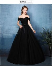 black plain long ball gown black dress royal medieval ...