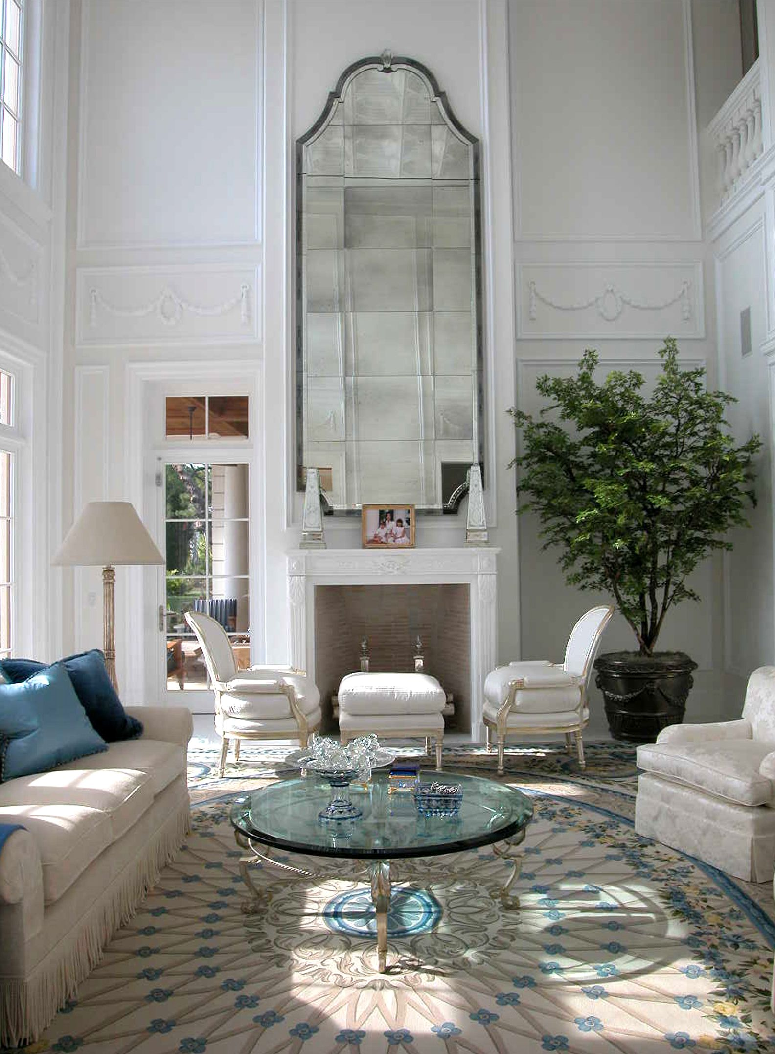 High Ceiling Living Room Ideas Bruce Bierman This Two Storied Palm Beach Living Room Has
