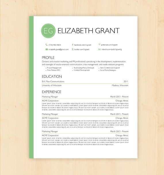 Resume Template \/ CV Template - The Elizabeth Grant Resume Design - professional document templates