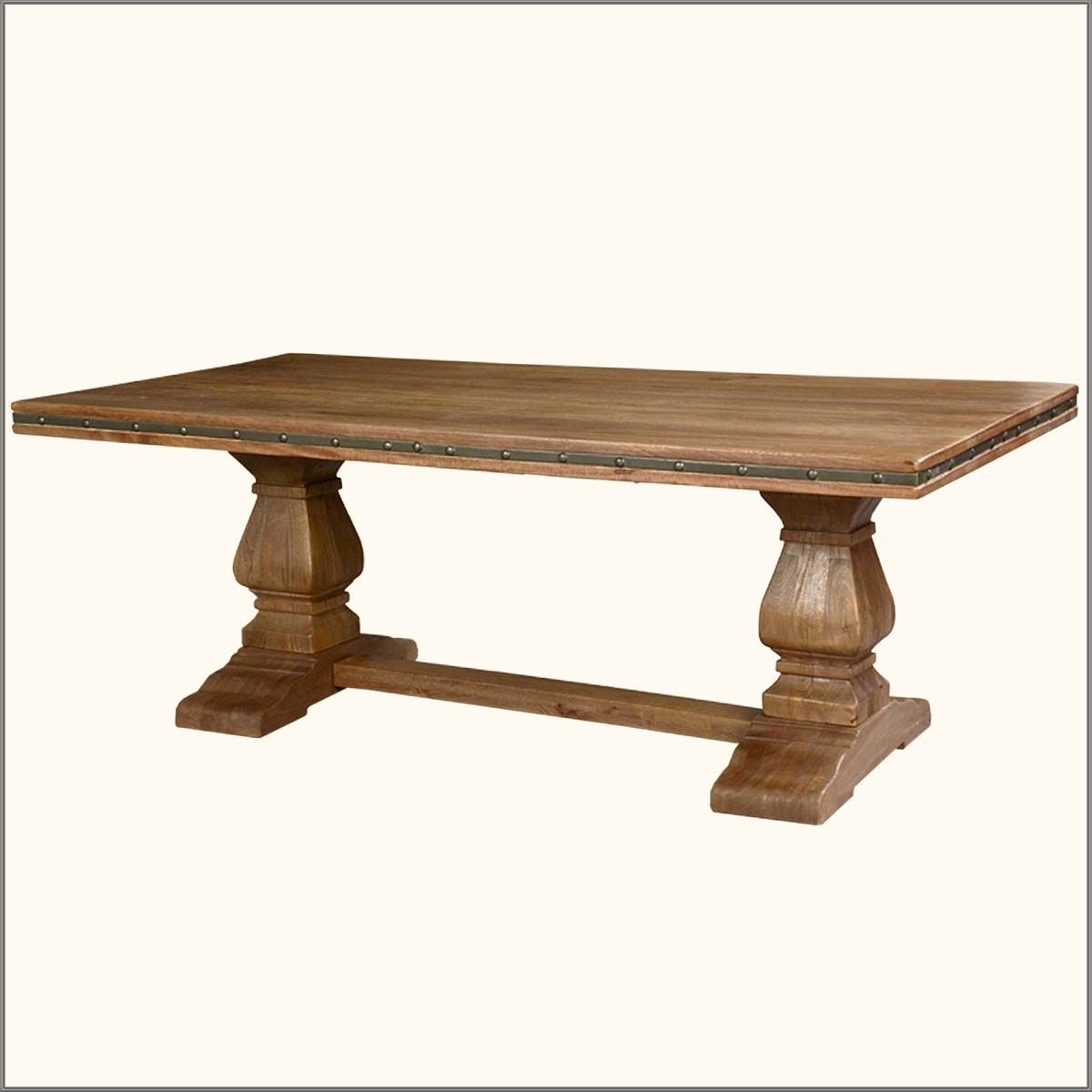 Wood trestle base tables rustic solid wood trestle pedestal base harvest dining