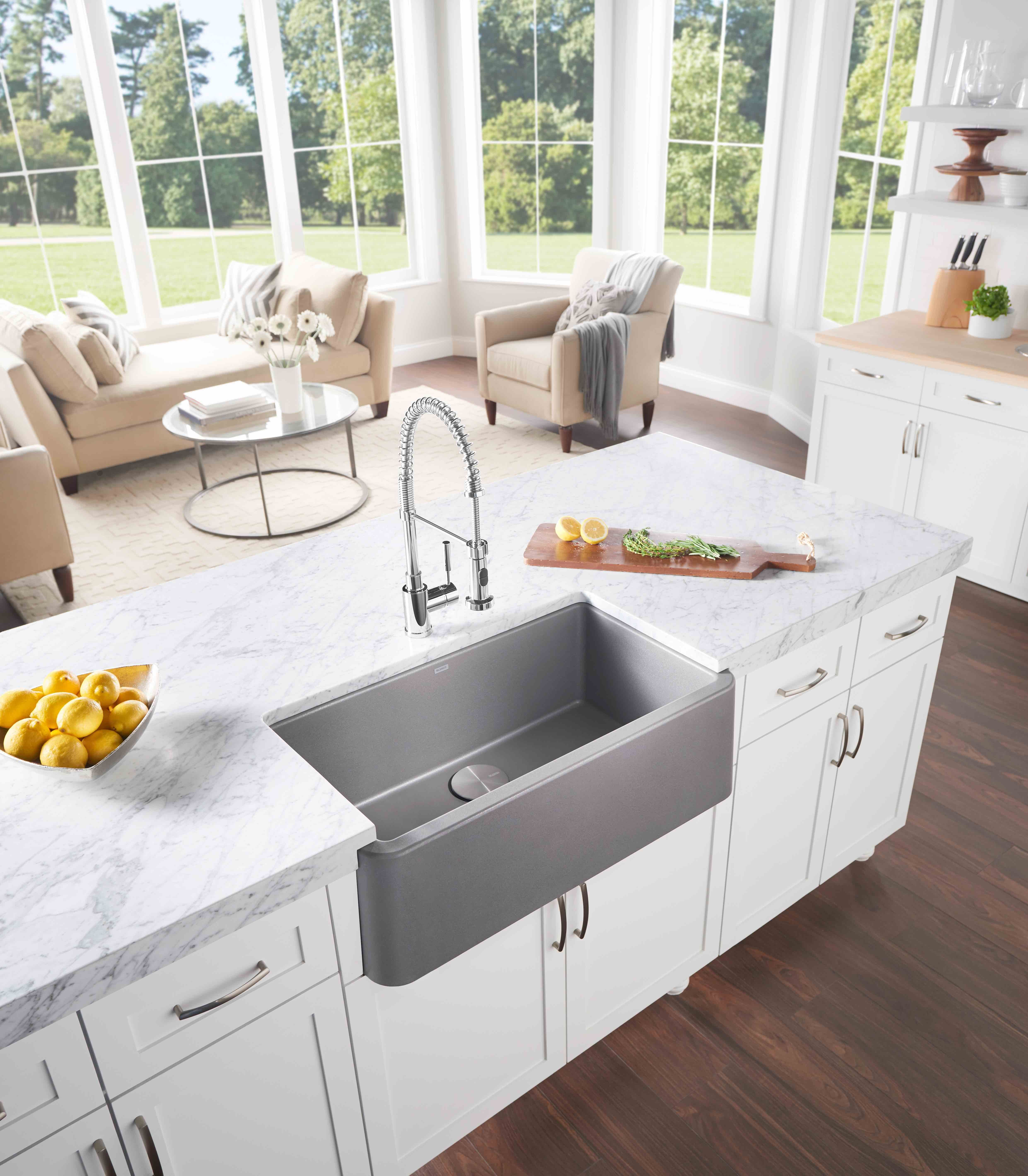 Blanco Farmhouse Sink Reviews Farmhouse Sink In Gally Kitchen Preferred Home Design