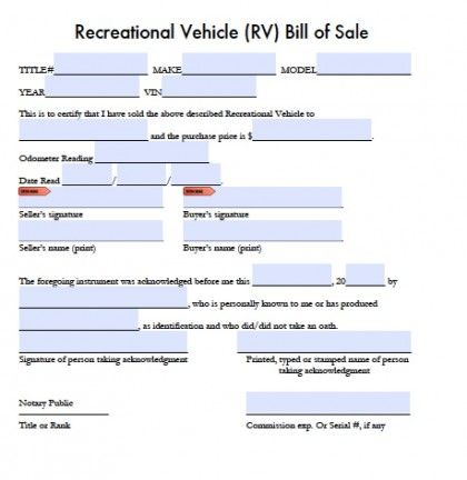 Printable Sample Bill of sale camper Form Forms and Template - bill of sale word doc