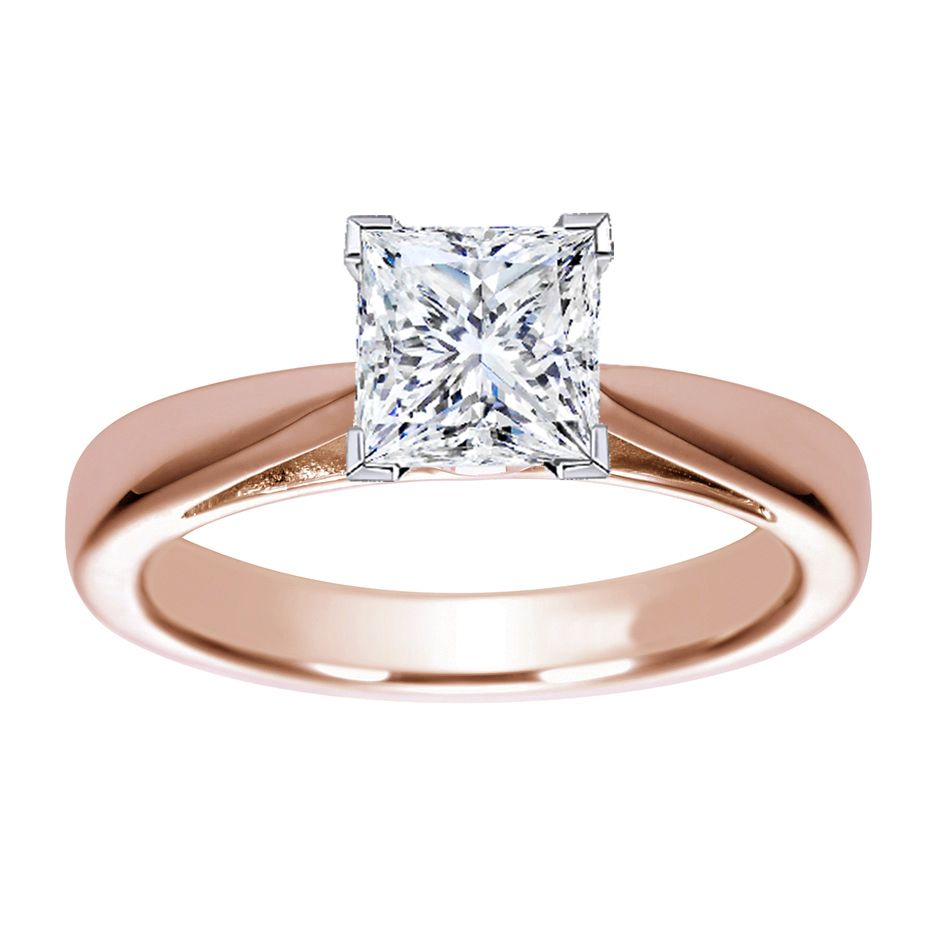 rose gold wedding rings rose gold wedding rings Rose Gold Princess Cut Wedding Rings A Great Choice for