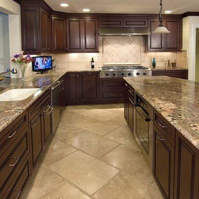 Tan Kitchen Floor Tile Dark Cabinets With Tile Floor Design - kitchen tile flooring ideas