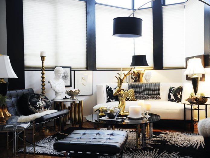glamorous black, white \ gold apartment home interior - black white and gold living room ideas