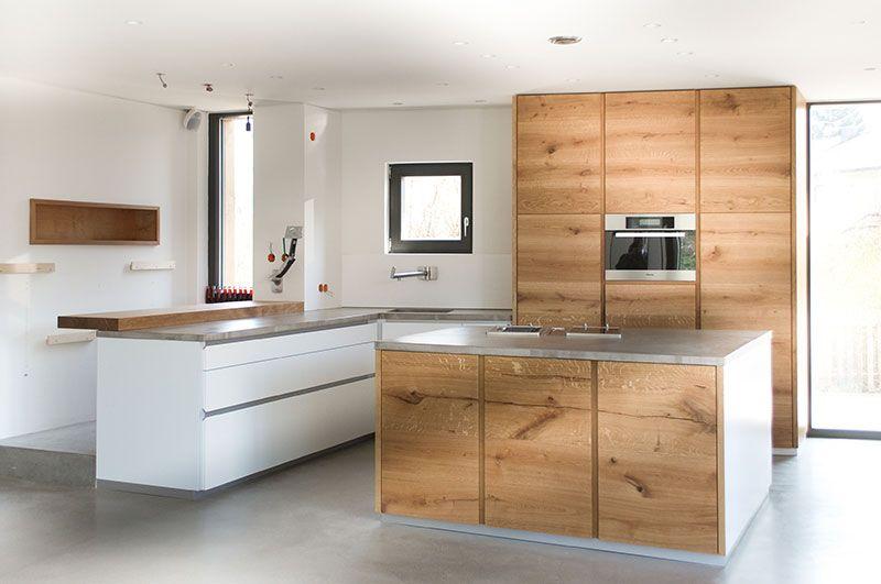Eiche Beton Küche Wohnküche Pinterest Eiche, Küche holz und - moderne kuchen weiss holz