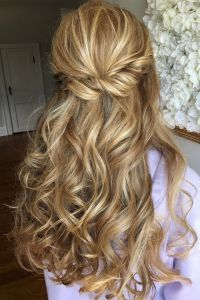 Half up half down curl hairstyles - partial updo wedding ...