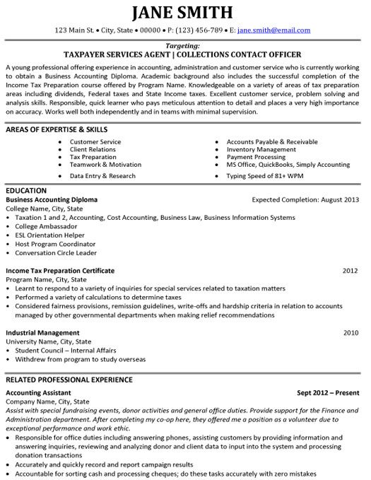 Click Here to Download this Taxpayer Services Agent Resume - accounting student resume