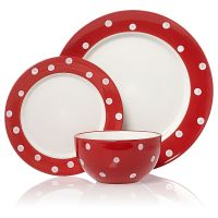 Red and white spotty plates and bowls. Classic red and ...