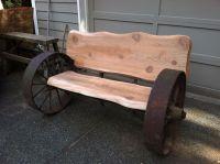 Wagon wheel bench with wood slabs | Repurpose & Upstyle ...