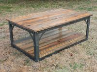 Hand forged iron and reclaimed barn wood Coffee Table ...