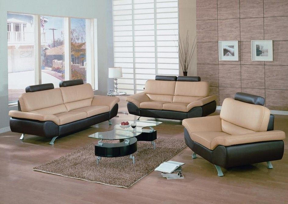 Furniture Modern Two Colors Leather Living Room Sofa Set With - glass living room furniture