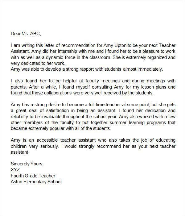 Recommendation-Letter-for-Teacher-Assistant miscellaneous - generic letter of recommendation