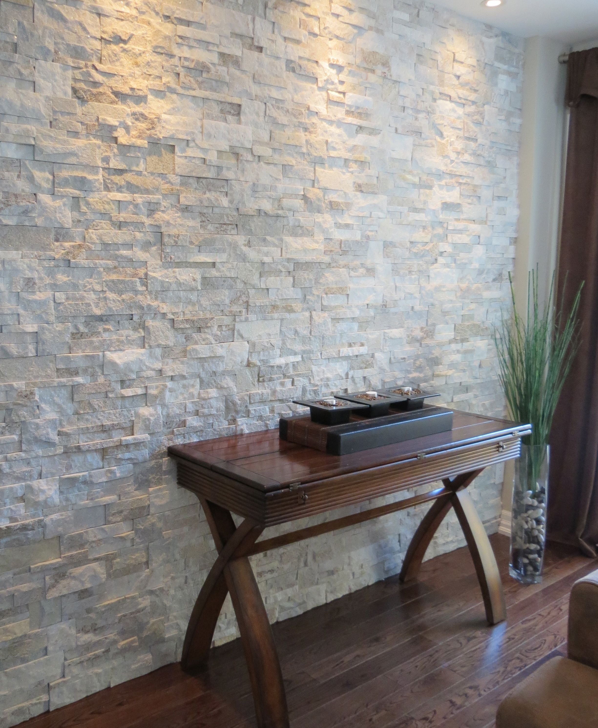 Accent Stone Wall Quartzite Ledge Stone In Oyster Shell On An Interior