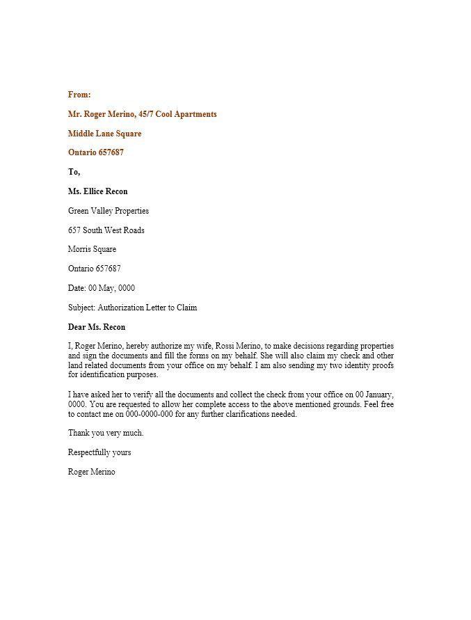 Authorization Letter 01 print Pinterest Letter sample - authorization letters sample