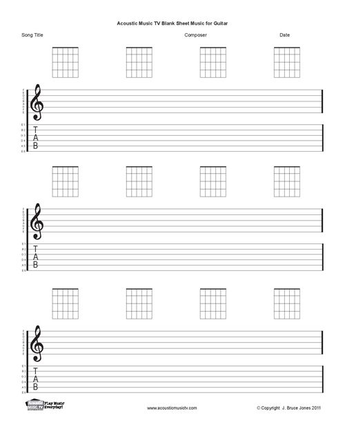 Music Staff Paper Template Guitar Blank Printable Sheet Music - music staff paper template